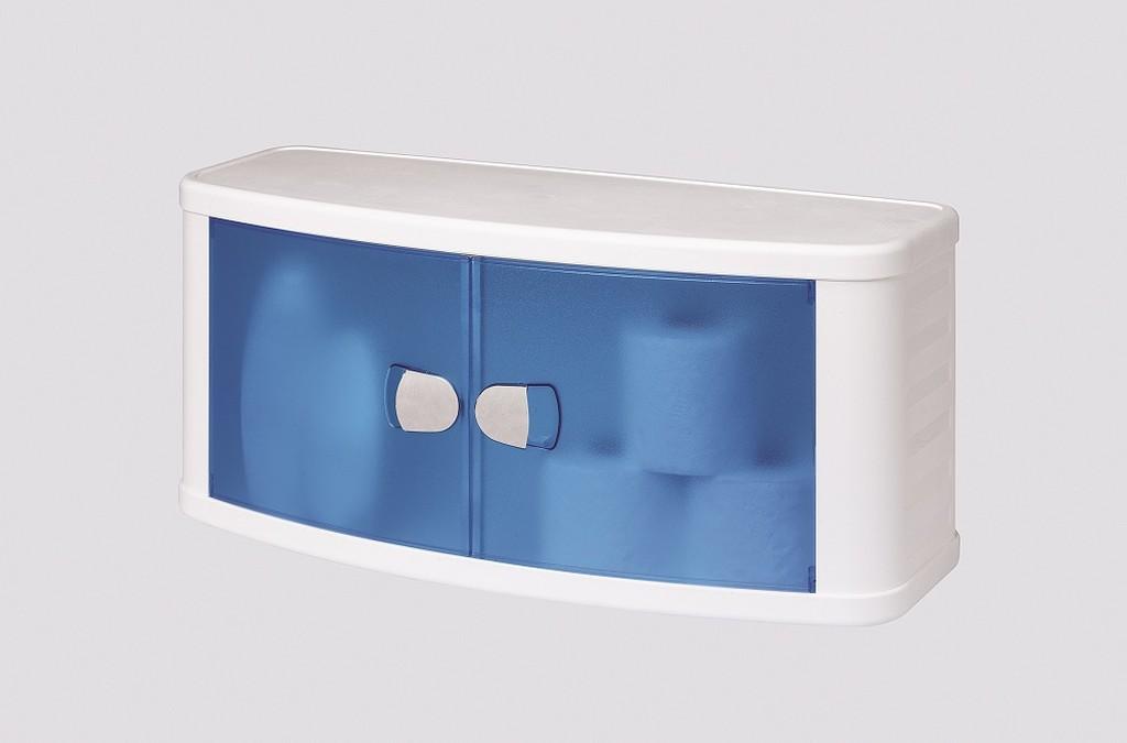 Купить - шкаф настенный подвесной с дверками, цвет голубой 2.