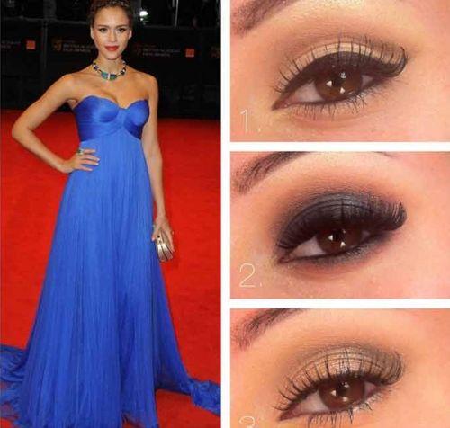 макияж под синее платье фото