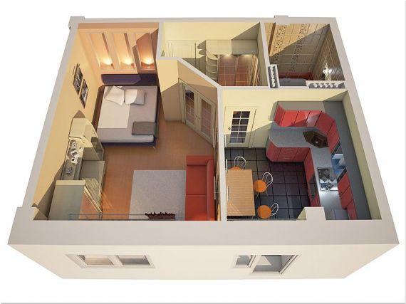 Как использовать пространство в 1 комнатной квартире