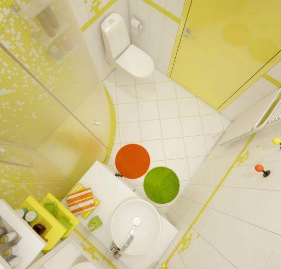Как оформить ванную в жёлтом