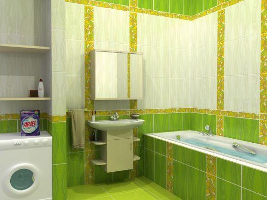 Как оформить ванную в зелёном