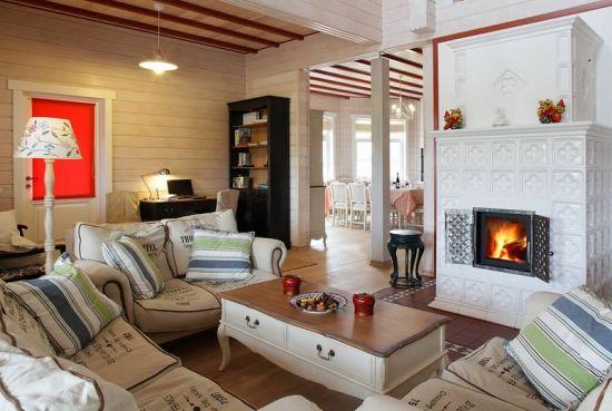 гостиная в стиле прованс камин