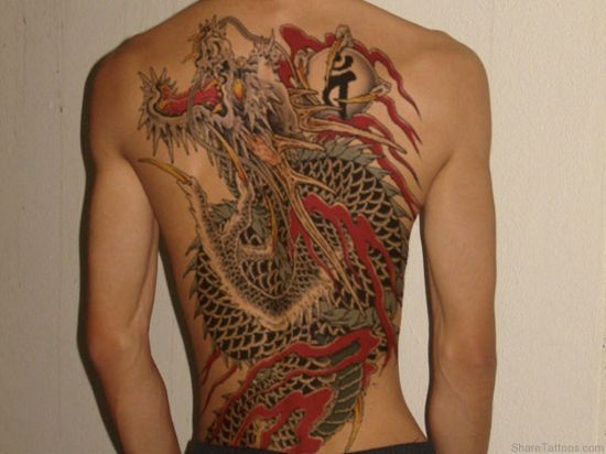 мужские тату на спину якудза