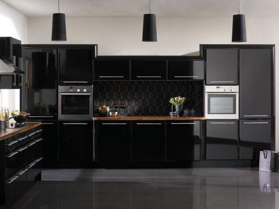 кухня мебель черного цвета