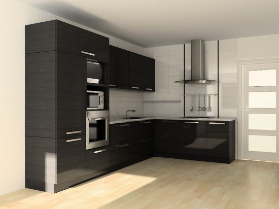 кухня черного цвета встроенная техника