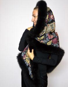 Павловопосадский платок с мехом