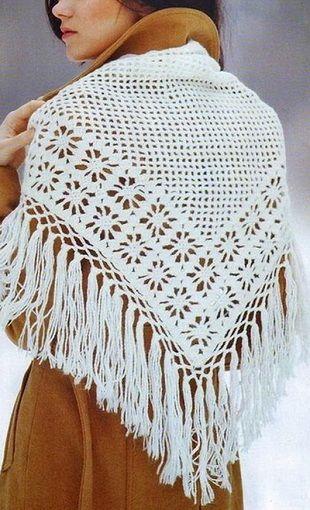 шаль вязанная