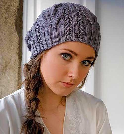 Шапка спицами для женщин с описанием
