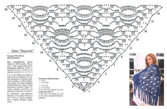 вязание шалей крючком схемы и описание