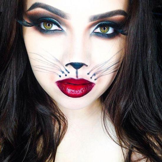 Кошачий макияж на хэллоуин для девушек своими руками