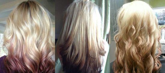 Обратное омбре на русые волосы