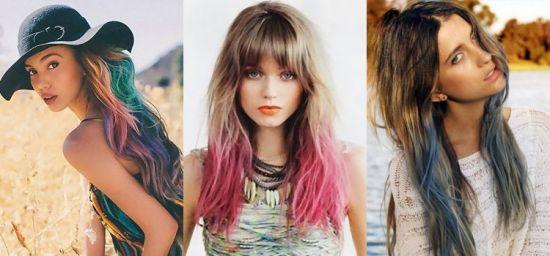Цветное окрашивание омбре на русые волосы фото