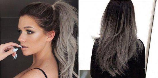 Серое окрашивание омбре на русые волосы фото