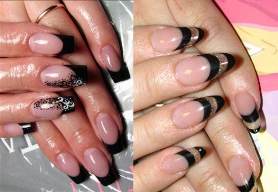 черный френч нарощенные ногти