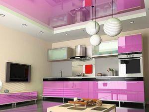 Идеи для ремонта кухни: глянцевые натяжные потолки