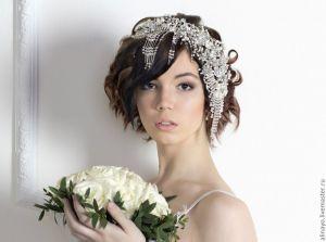 Короткая прическа для невест