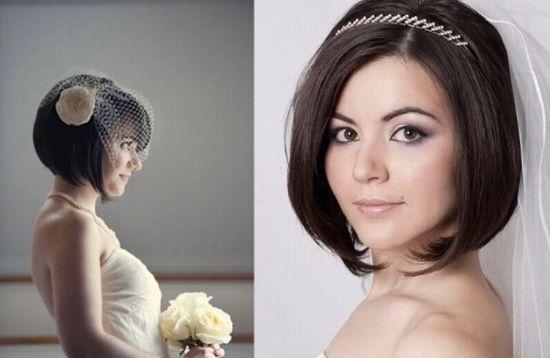 Свадебная прическа с короткой стрижкой