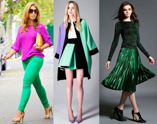 Аксессуары и одежда зеленого цвета