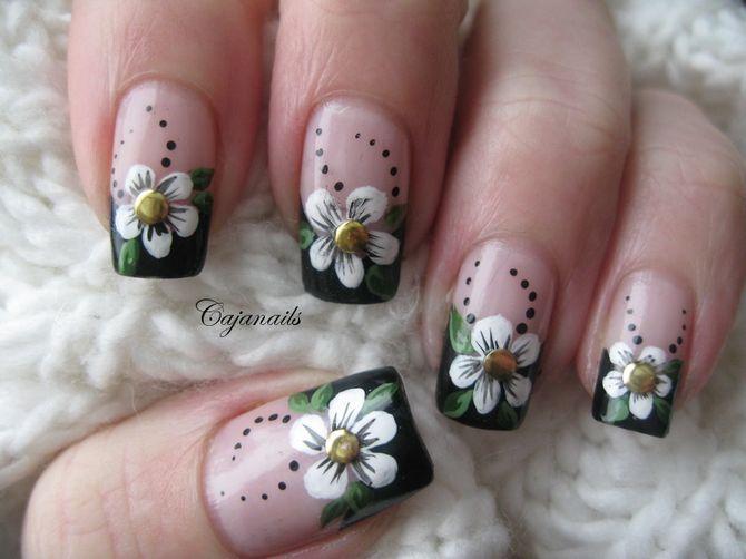 Зеленый френч с цветами